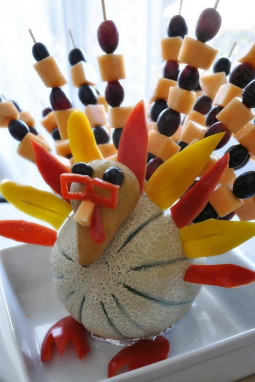 Fruit and vegetable décor for thanksgiving skinnytwinkie